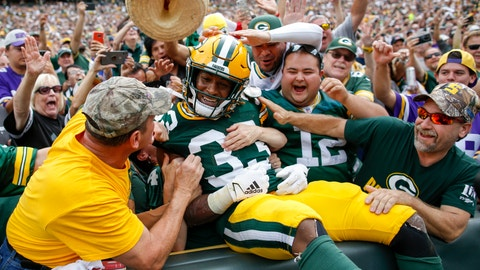 <p>               Green Bay Packers' Aaron Jones celebrates his touchdown run during the first half of an NFL football game against the Minnesota Vikings Sunday, Sept. 15, 2019, in Green Bay, Wis. (AP Photo/Matt Ludtke)             </p>