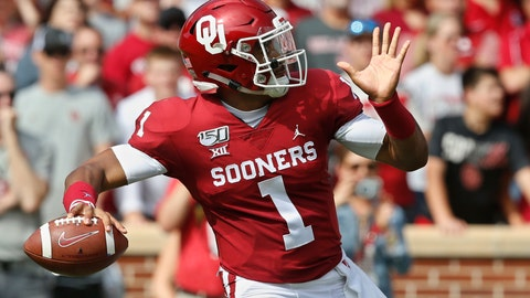 <p>               Oklahoma quarterback Jalen Hurts (1) throws in the first quarter of an NCAA college football game against Texas Tech in Norman, Okla., Saturday, Sept. 28, 2019. (AP Photo/Sue Ogrocki)             </p>
