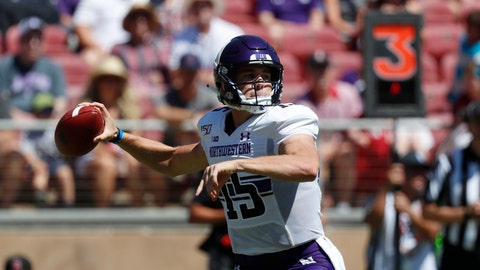 <p>               Northwestern quarterback Hunter Johnson (15) throws a pass against Stanford in the first quarter of an NCAA college football game in Stanford, Calif., Saturday, Aug. 31, 2019. (AP Photo/Josie Lepe)             </p>