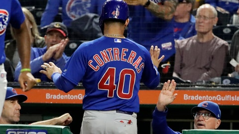 <p>               Chicago Cubs' Willson Contreras (40) is greeted at the dugout steps by Joe Maddon, right, after scoring on a single by Nico Hoerner off Pittsburgh Pirates relief pitcher Richard Rodriguez during the eighth inning of a baseball game in Pittsburgh, Tuesday, Sept. 24, 2019. (AP Photo/Gene J. Puskar)             </p>
