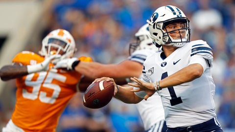 <p>               Brigham Young quarterback Zach Wilson (1) throws to a receiver in the first half of an NCAA college football game against Tennessee Saturday, Sept. 7, 2019, in Knoxville, Tenn. (AP Photo/Wade Payne)             </p>