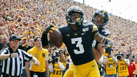 <p>               FILE - In this Sept. 7, 2019, file photo, Iowa wide receiver Tyrone Tracy, left, celebrates his touchdown reception with Iowa tight end Nate Wieting, right, during the first half of an NCAA college football game against Rutgers, in Iowa City. No. 19 Iowa's passing game has been lethal so far _ despite losing two first-round picks in tight ends T.J. Hockenson and Noah Fant.(AP Photo/Matthew Putney, File)             </p>