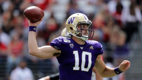 <p>               Washington quarterback Jacob Eason passes against Eastern Washington in the first half of an NCAA college football game Saturday, Aug. 31, 2019, in Seattle. (AP Photo/Elaine Thompson)             </p>