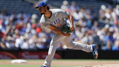 <p>               Chicago Cubs starting pitcher Yu Darvish works against a San Diego Padres batter during the second inning of a baseball game Thursday, Sept. 12, 2019, in San Diego. (AP Photo/Gregory Bull)             </p>