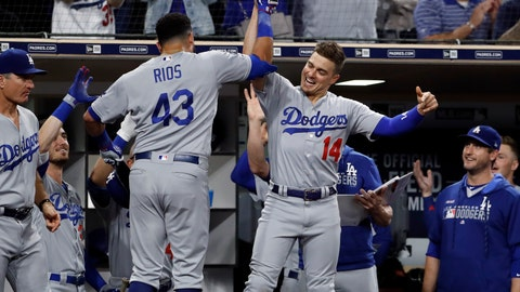 <p>               Los Angeles Dodgers' Edwin Rios (43) is greeted by teammate Enrique Hernandez (14) after hitting a home run during the seventh inning of the team's baseball game against the San Diego Padres on Wednesday, Sept. 25, 2019, in San Diego. (AP Photo/Gregory Bull)             </p>