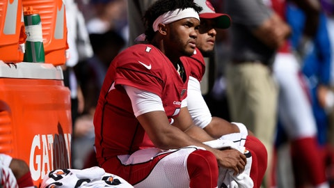 <p>               Arizona Cardinals quarterback Kyler Murray sits on the Cardinals sideline in the second half of an NFL football game against the Baltimore Ravens, Sunday, Sept. 15, 2019, in Baltimore. (AP Photo/Gail Burton)             </p>