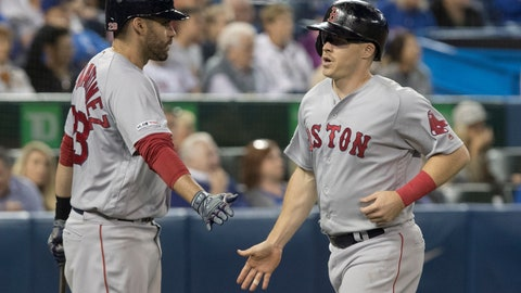 <p>               Boston Red Sox's Brock Holt comes in to score on a single by Xander Bogaerts during the seventh inning against the Toronto Blue Jays in a baseball game Thursday, Sept. 12, 2019, in Toronto. (Fred Thornhill/The Canadian Press via AP)             </p>