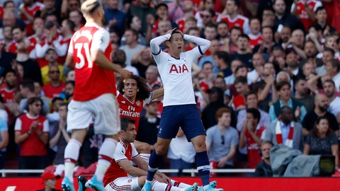 <p>               Tottenham's Son Heung-min reacts after missing a chance to score during their English Premier League soccer match between Arsenal and Tottenham Hotspur at the Emirates stadium in London, Sunday, Sept. 1, 2019. (AP Photo/Alastair Grant)             </p>