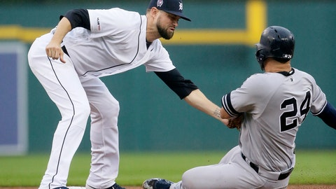 <p>               New York Yankees' Gary Sanchez (24) is tagged out by Detroit Tigers' Jordy Mercer trying to steal second base during the third inning of the second game of a baseball doubleheader Thursday, Sept. 12, 2019, in Detroit. (AP Photo/Duane Burleson)             </p>