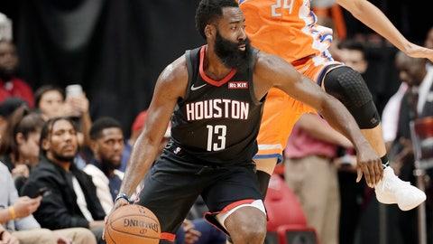 <p>               Houston Rockets guard James Harden (13) drives under Shanghai Sharks forward Ju Mingxin (24) during the first half of an NBA basketball preseason game Monday, Sept. 30, 2019, in Houston. (AP Photo/Michael Wyke)             </p>