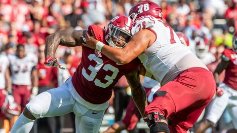 <p>               Alabama linebacker Anfernee Jennings (33) battles New Mexico State offensive lineman Brian Trujillo (78) during the first half of an NCAA college football game Saturday, Sept. 7, 2019, in Tuscaloosa, Ala. (AP Photo/Vasha Hunt)             </p>