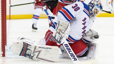 <p>               New York Rangers goaltender Henrik Lundqvist makes a save during the second period of the team's preseason NHL hockey game against the New Jersey Devils, Friday, Sept. 20, 2019, in Newark, N.J. (AP Photo/Mary Altaffer)             </p>