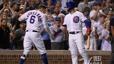 <p>               Chicago Cubs' Nicholas Castellanos (6) celebrates with Willson Contreras right, after hitting a three-run home run during the fifth inning of the team's baseball game against the Seattle Mariners on Tuesday, Sept. 3, 2019, in Chicago. (AP Photo/Paul Beaty)             </p>