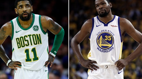 <p>               FILE - At left, in a March 20, 2019, file photo, Boston Celtics' Kyrie Irving is shown during an NBA basketball game against the Philadelphia 76ers in Philadelphia. At right, in a May 8, 2019, file photo, Golden State Warriors' Kevin Durant is shown during the first half of Game 5 of the team's second-round NBA basketball playoff series against the Houston Rockets in Oakland, Calif. Irving said Friday, Sept. 27, 2019 at the Brooklyn Nets media day, that Durant wasn't ready to play in the NBA Finals and won't let his new teammate come back to the court this time until he's fully healthy. (AP Photo/File)             </p>