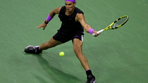 <p>               Rafael Nadal, of Spain, hits a return to Diego Schwartzman, of Argentina, during the quarterfinals of the U.S. Open tennis tournament Wednesday, Sept. 4, 2019, in New York. (AP Photo/Adam Hunger)             </p>