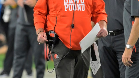 <p>               Cleveland Browns head coach Freddie Kitchens watches during the second half of an NFL football game against the Los Angeles Rams, Sunday, Sept. 22, 2019, in Cleveland. (AP Photo/David Richard)             </p>