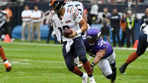 <p>               Chicago Bears quarterback Mitchell Trubisky (10) scrambles away from Minnesota Vikings outside linebacker Anthony Barr (55) during the half of an NFL football game Sunday, Sept. 29, 2019, in Chicago. (AP Photo/Matt Marton)             </p>