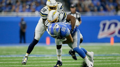 <p>               Detroit Lions tight end T.J. Hockenson (88) is brought down by Los Angeles Chargers defensive back Adrian Phillips (31) and Thomas Davis (58) in the first half of an NFL football game in Detroit, Sunday, Sept. 15, 2019. (AP Photo/Duane Burleson)             </p>