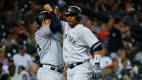 <p>               New York Yankees' Edwin Encarnacion, right, celebrates his two-run home run with New York Yankees Gary Sanchez in the seventh inning of a baseball game against the Detroit Tigers in Detroit, Tuesday, Sept. 10, 2019. (AP Photo/Paul Sancya)             </p>