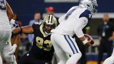 <p>               FILE - In this Nov. 29, 2018, file photo, Dallas Cowboys quarterback Dak Prescott (4) is pressured by New Orleans Saints defensive tackle David Onyemata (93) in the first half of an NFL football game, in Arlington, Texas. Onyemata has returned from suspension not a moment too soon for New Orleans' defensive front. (AP Photo/Michael Ainsworth, File)             </p>