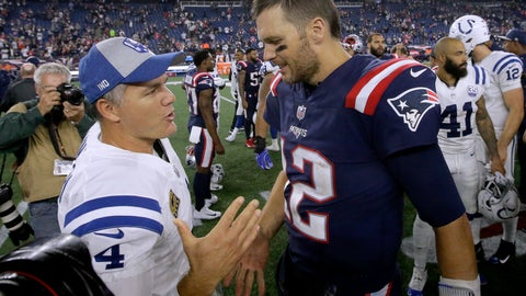 <p>               FILE - In this Oct. 4, 2018, file photo, Indianapolis Colts kicker Adam Vinatieri, left, and New England Patriots quarterback Tom Brady speak at midfield after an NFL football game in Foxborough, Mass. The NFL isn't exclusively for the young. From fortysomethings such as Tom Brady and Adam Vinatieri to those nearing a fourth decade from Eli Manning, Philip Rivers and Terrell Suggs, there's still a place for the aged in football. (AP Photo/Steven Senne, File)             </p>