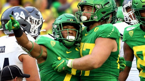 <p>               Oregon's CJ Verdell, left, and Ryan Bay, right, celebrate a touchdown during the second quarter of an NCAA college football game against Nevada Saturday, Sept. 7, 2019, in Eugene, Ore. (AP Photo/Chris Pietsch)             </p>