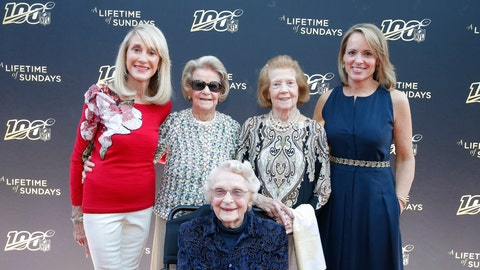 """<p>               From left, Norma Hunt, Martha Ford, Virginia McCaskey, seated, Patricia Rooney and Jane Skinner Goodell pose at the premiere of """"A Lifetime of Sundays,"""" in Phoenix, March 25, 2019. The four NFL team owners were reticent about the project when approached by Jane Skinner Goodell, the commissioner's wife and an executive producer of the movie. Indeed, she received a polite no from each of the women, who range in age from 81 to 96. (Rick Scuteri/AP Images)             </p>"""