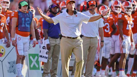 <p>               Clemson head coach Dabo Swinney reacts to a call during the second half of an NCAA college football game against Texas A&M Saturday, Sept. 7, 2019, in Clemson, S.C. (AP Photo/Richard Shiro)             </p>