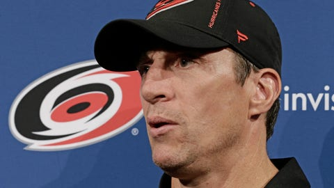 <p>               Carolina Hurricanes coach Rod Brind'Amour takes questions during the the team's NHL hockey media day in Raleigh, N.C., Wednesday, Sept. 4, 2019. (AP Photo/Gerry Broome)             </p>