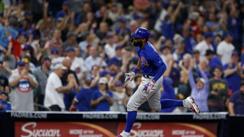 <p>               Chicago Cubs' Jason Heyward reacts after hitting a home run during the eighth inning of the team's baseball game against the San Diego Padres on Tuesday, Sept. 10, 2019, in San Diego. (AP Photo/Gregory Bull)             </p>