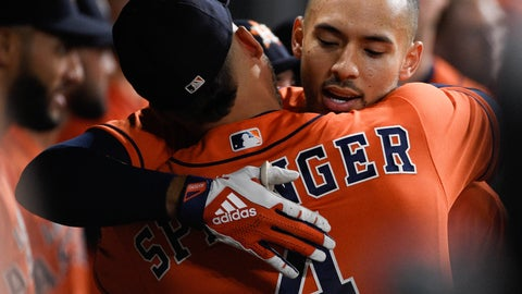 <p>               Houston Astros' Carlos Correa, right, hugs George Springer after hitting a solo home run off Los Angeles Angels starting pitcher Jaime Barria during the third inning of a baseball game Friday, Sept. 20, 2019, in Houston. (AP Photo/Eric Christian Smith)             </p>