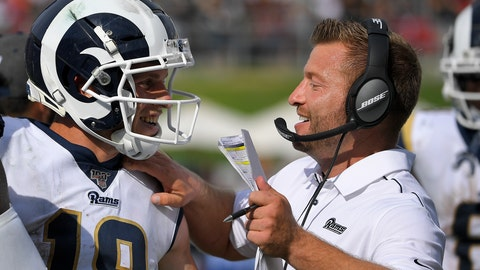 <p>               Los Angeles Rams wide receiver Cooper Kupp celebrates after a long run with head coach Sean McVay during the second half of an NFL football game New Orleans Saints Sunday, Sept. 15, 2019, in Los Angeles. (AP Photo/Mark J. Terrill)             </p>