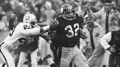 "<p>               FILE - In this Dec. 23, 1972, file photo, Pittsburgh Steelers' Franco Harris (32) eludes a tackle by Oakland Raiders' Jimmy Warren as he runs 42-yards for a touchdown after catching a deflected pass during an AFC Divisional NFL football playoff game in Pittsburgh. Harris' scoop of a deflected pass and subsequent run for the winning touchdown _ forever known as the ""Immaculate Reception"" _ has been voted the greatest play in NFL history. A nationwide panel of 68 media members chose the Immaculate Reception as the top play with 3,270 points and 39 first-place votes. (AP Photo/Harry Cabluck, File)             </p>"
