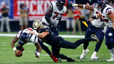<p>               New Orleans Saints defensive end Trey Hendrickson (91) sacks Houston Texans quarterback Deshaun Watson (4) in the second half of an NFL football game in New Orleans, Monday, Sept. 9, 2019. (AP Photo/Butch Dill)             </p>