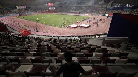 <p>               The stadium is sparsely filled for the second session at the World Athletics Championships in Doha, Qatar, Saturday, Sept. 28, 2019. (AP Photo/Nariman El-Mofty)             </p>