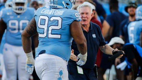 <p>               North Carolina head coach Mack Brown, right, greets defensive lineman Aaron Crawford after Crawford sacked South Carolina Gamecocks quarterback Jake Bentley in the second half of an NCAA college football game in Charlotte, N.C., Saturday, Aug. 31, 2019. North Carolina won 24-20. (AP Photo/Nell Redmond)             </p>