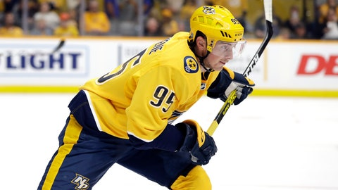 <p>               Nashville Predators center Matt Duchene plays against the Tampa Bay Lightning during the second period of an NHL preseason hockey game Saturday, Sept. 21, 2019, in Nashville, Tenn. Duchene was signed as a free agent during the offseason. (AP Photo/Mark Humphrey)             </p>