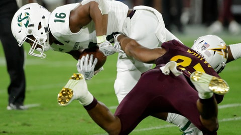<p>               Sacramento State tight end Marshel Martin (16) is tackled by Arizona State linebacker Tyler Whiley during the first half of an NCAA college football game Friday, Sept. 6, 2019, in Tempe, Ariz. (AP Photo/Matt York)             </p>