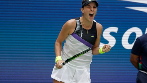 <p>               Belinda Bencic, of Switzerland, pumps her fist after winning a point against Donna Vekic, of Croatia, during the quarterfinals of the U.S. Open tennis championships Wednesday, Sept. 4, 2019, in New York. (AP Photo/Frank Franklin II)             </p>