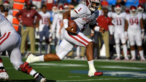 <p>               Oklahoma quarterback Jalen Hurts runs in for a touchdown during the first half of the team's NCAA college football game against UCLA on Saturday, Sept. 14, 2019, in Pasadena, Calif. (AP Photo/Mark J. Terrill)             </p>