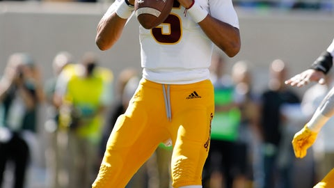 <p>               Arizona State quarterback Jayden Daniels looks to throw against Michigan State during the first quarter of an NCAA college football game Saturday, Sept. 14, 2019, in East Lansing, Mich. (AP Photo/Al Goldis)             </p>