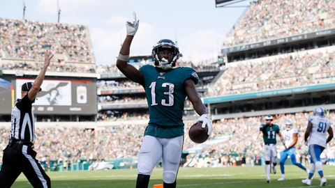 <p>               Philadelphia Eagles' Nelson Agholor (13) celebrates after scoring a touchdown during the second half of an NFL football game against the Detroit Lions, Sunday, Sept. 22, 2019, in Philadelphia. (AP Photo/Michael Perez)             </p>