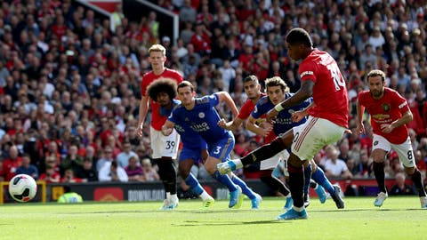 <p>               Manchester United's Marcus Rashford scores his side's first goal of the game from the penalty spot during the English Premier League soccer match between Manchester United and Leicester City at Old Trafford Stadium, Manchester England. Saturday, Sept. 14 2019 (Martin Rickett/PA via AP)             </p>