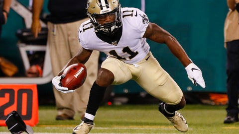 <p>               FILE - In this Aug. 24, 2019, file photo, New Orleans Saints' Deonte Harris (11) runs during the first half of a preseason NFL football game against the New York Jets, in East Rutherford, N.J. Saints rookie Deonte Harris wanted to believe his record-setting career as a return man at the Division II level of college football would translate in the NFL. It sure looked that way during the preseason, particularly on his 78-yard punt return touchdown against the New York Jets. Now the 5-foot-6, 170-pound Harris, who left college as NCAA's all-time leader in combined kick and punt returns for touchdowns with 14, is set to make his NFL debut before a national TV audience against the Houston Texans on Monday night. (AP Photo/Noah K. Murray, File)             </p>