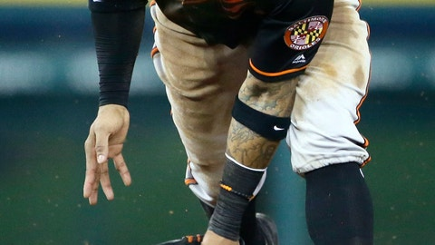 <p>               Baltimore Orioles shortstop Jonathan Villar misplays a grounder hit by Detroit Tigers' Willi Castro for a single during the fifth inning of a baseball game Friday, Sept. 13, 2019, in Detroit. (AP Photo/Duane Burleson)             </p>