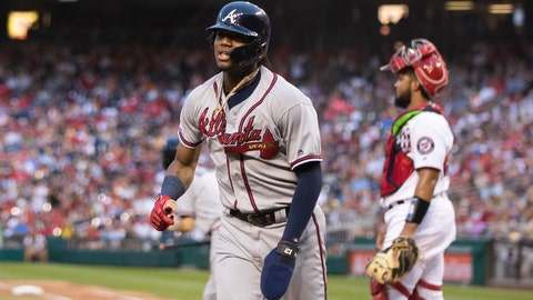 <p>               Atlanta Braves Ronald Acuna Jr., runs back to their dugout after scoring a run during the seventh inning of a baseball game against the Washington Nationals in Washington, Saturday, Sept. 14, 2019. (AP Photo/Manuel Balce Ceneta)             </p>