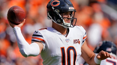 <p>               Chicago Bears quarterback Mitchell Trubisky (10) throws against the Denver Broncos during the first half of an NFL football game, Sunday, Sept. 15, 2019, in Denver. (AP Photo/Jack Dempsey)             </p>