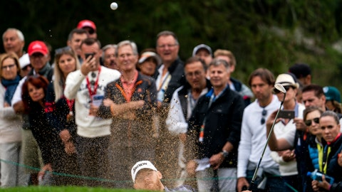 <p>               Sebastian Soderberg of Sweden hits a bunker shot during the final round of the European Masters golf tournament in Crans-Montana, Switzerland, Sunday, September 1, 2019.(Alexandra Wey/Keystone via AP)             </p>