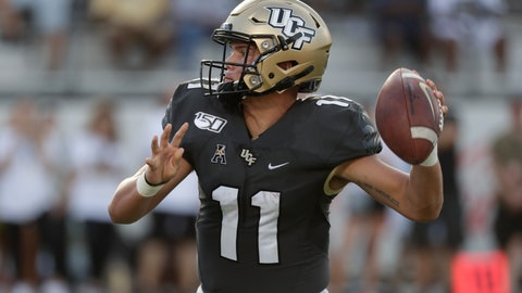 <p>               Central Florida quarterback Dillon Gabriel throws a 1-yard touchdown pass against Stanford during the second half of an NCAA college football game, Saturday, Sept. 14, 2019, in Orlando, Fla. (AP Photo/John Raoux)             </p>