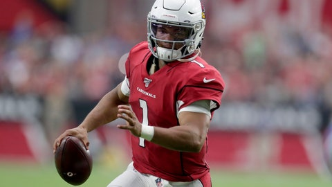Arizona Cardinals quarterback Kyler Murray scrambles against the Detroit Lions during the first half of an NFL football game Sunday Sept. 8 2019 in Glendale Ariz